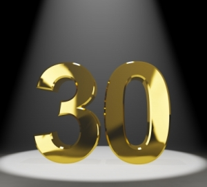 "Golden Number 30 With Spotlit"" by Stuart Miles"